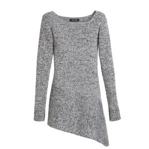 ASYMMETRICAL MARLED TUNIC SWEATER
